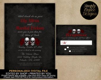 Gothic Black and Red Skull Wedding Invitation