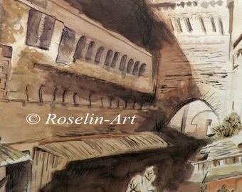 Original watercolor. The market (Marrakech)