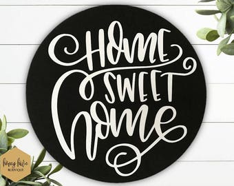 "home sweet home, round bamboo sign, 11"" circular sign, wall hanging, home decor, wall decor, housewarming gift, new home, wood look sign"