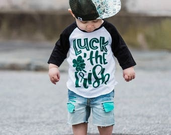 Luck of the irish - st. patricks day shirt - toddler st paticks day tee - st patricks day outfit - girl - raglan - Irish kids shirt - boy