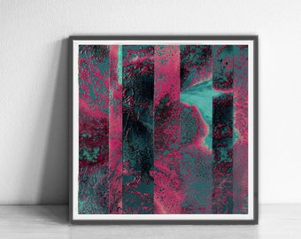 Digital Print, contemporary art, wall art , Abstract Art Print, teal, pink , Colorful wall art , Bright and colorful, fuchsia and mint