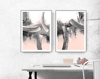 Scandinavian abstract, Printable Art, Art Poster, modern abstract, Industrial Decor, gray , white , black, pink, peach, large print