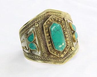 Afghan Traditional Turquoise Bracelet, Belly Dance Bracelet, Adornment Adjustable Cuff Bracelet