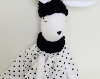 Tilda bunny, Bunny, Handmade doll, Sewn doll, Winter collection, Woodland doll, Tilda doll, Black&White , Dot dress, Crochet , Easter gift