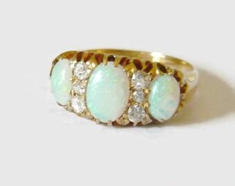 EDWARDIAN 18kt Gold Opal & Diamond Ring | Antique Opal Ring | Vintage Opal Diamond Ring | 3 Stone Opal Ring |