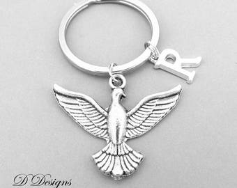 Dove KeyRing, Dove KeyChain, Bird KeyChain, Personalised Dove Key chain, Bird Gifts