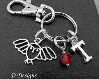 Owl Bag Charm, Owl KeyRing, Owl KeyChain, Owl Gifts, Owl Clip Keyring, Bird KeyChain, Bird Gifts