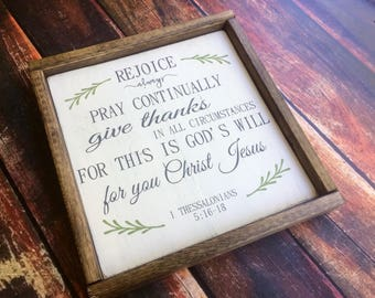 Rejoice always; Rustic Wood Sign; Farmhouse Sign