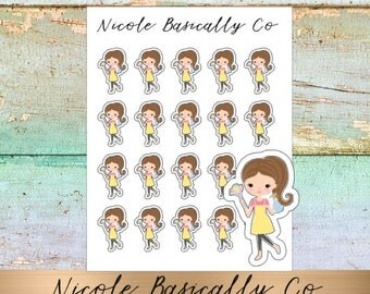 Jade Dolls- Cleaning- Dusting- Character Planner Stickers