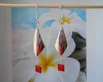 Red sequin silver leaf earrings