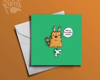 Merry Christmas Human | Cats Gift | Cat Christmas Card | Pet Christmas Card | Christmas Card | Cat Lady | Greetings Card
