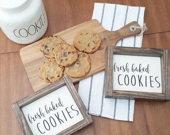 Fresh Baked Cookies. Cookie Bar. Cookie Bar sign. Kitchen decor. Rustic sign. Rustic framed sign.