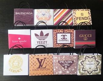 12pcs Dollhouse Miniature  Brandname Paper Bag 1:12 Scale