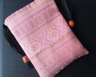 Handmade Thai Pink and Gold Silk Tarot Pouch Bag Dice Pouch Jewelry Bag With Drawstring