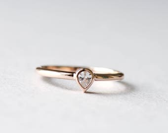 14k Rose Gold Ring, Pear-Shaped Ring, Teardrop Ring, Solitaire Ring, 925 Sterling Silver Ring, Rose and Choc Ring, Dainty Ring
