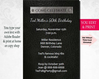 50th Birthday Invitation, 50th Birthday Party Invitation, Mens Birthday, 50th Birthday Invitation for Men, Leather and Chrome, You Edit PDF