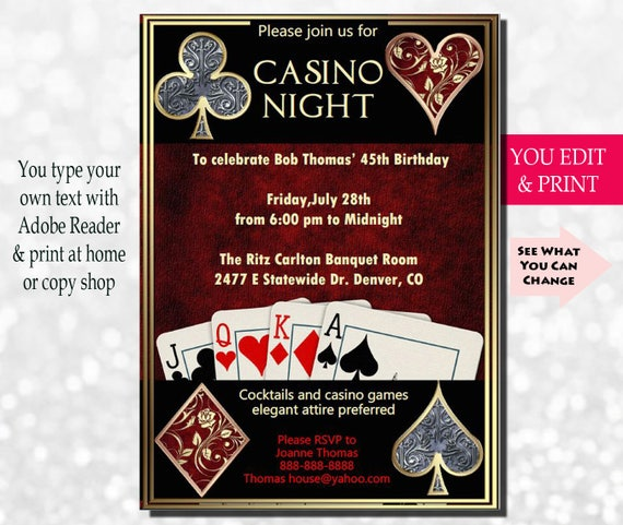 Casino Night Invitation Casino Invitation Casino Party Invitation