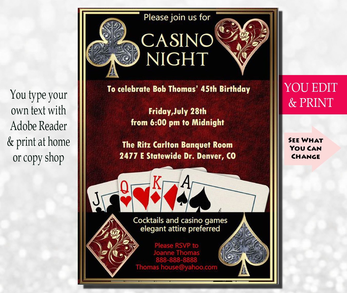 Casino Night Invitation Casino Invitation Casino Party