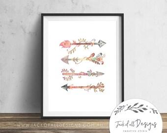 Watercolour Arrows - Wall Art Print