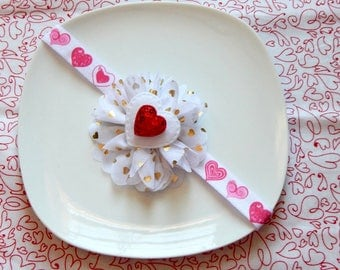 Valentine headband, Valentine bow, Heart headband, Heart bow, Valentines Day headband, Valentines Day bow, Girls headband, Baby headband