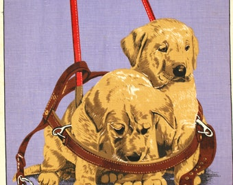 Labrador Dog Puppies Tea Towel - 70s Linen Cotton Vintage Guide Dogs for the Blind Tea Towel - New Old Stock