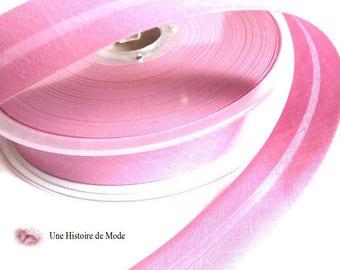 1 meter of bias tape plain pink 20 mm folded - rose