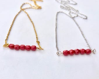 Red bead bar necklace, dainty beaded necklaces , layering necklace, delicate necklace
