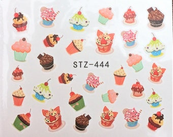 1 Sheet Nail Art Water Decals Sweets Cake Colorful  Sticker Nail Decorations