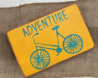 Adventure sign, Bicycle sign, Rustic Wood sign, Yellow bike sign, wooden adventure sign, small adventure sign, small wood sign