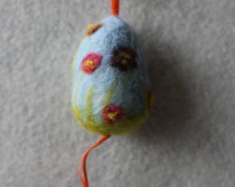Hanging Needle-FeltedLight Blue Easter Egg With Red And Orange Flowers With Beading