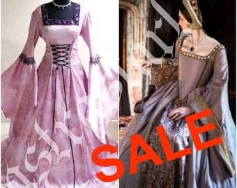 HALLOWEEN DRESS medieval 20-22-24 XL-2XL-3XL gothic wedding witch vampire tudor renaissance costume celtic handfasting wicca victorian larp