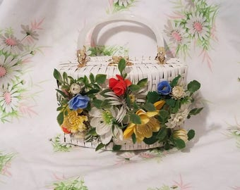 Super Cute! Small white wicker handbag/evening bag with fun colorful plastic flowers and lucite handles