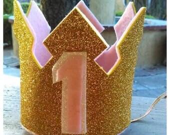 Gold Glitter Crown, Gold and Pink Crown, 1st Birthday Crown, Birthday Crown, Princess