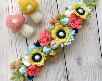 Coral Blossoms Flower Crown