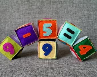 Colorful Felt blocks 0-9, Educational toy,building blocks, math blocks, educational numbers,learning numbers,preschoolgift, soft blocks