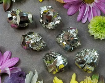 Small Pyrite Crystals (1 pc) >> Natural Gemstone, High Grade, Raw Cubic Pyrite, Fool's Gold > Protection Stone, Good Luck, Meditation, Reiki