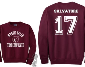 Salvatore 17 Mystic Falls Timberwolves White print on Crew neck Sweatshirt