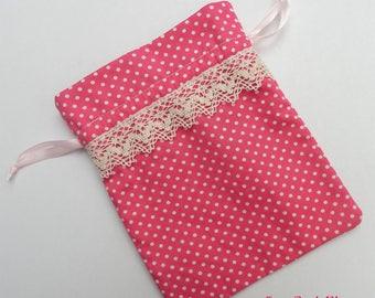 Small Pink Cotton Bag, Jewelry bag, Gift bag, Schmucksachebeutel, Geschenktasche