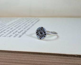 Decoratively Stamped Disc Ring (Size 6), Stamped Pattern Ring, Native Inspired Stamped Ring, Sterling Disc Ring
