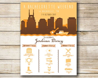Bachelorette or Bachelor Party Invitation & Itinerary, Nashville Tennessee Weekend Trip Schedule Downloadable Custom Printable File!