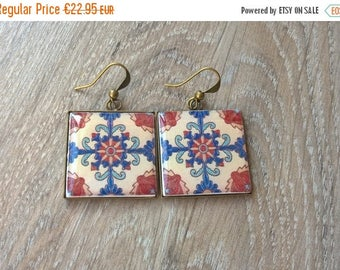 20% OFF SUMMER SALE Mexican tile earrings, Mexican tile replica, Talavera tile earrings, Mexican jewelry, Talavera tile design, gift for wif