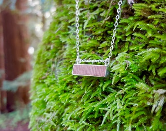 Wood Jewelry, Redwood Necklace, Wood Necklace, Fairmined Silver, Geometric, Modern, Handmade, Ethical Jewelry Made in California