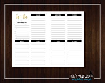 Printable To Do List - Modern Gold Black Weekly Planner Page - Daily Planner Sheet - To Do List - Daily Schedule - Grocery List Planner
