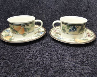 TWO Mikasa Intaglio Garden Harvest Mug Cup Saucer Sets CAC29 2 EXCELLENT!