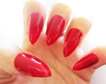 Fabulous Red False Nails, Hand Painted Fake Nails, Ruby Red Nails Available in Various Shapes and Finishes
