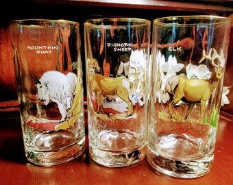 Ned Smith High Ball Glasses Set of 3 ~ Signed ~ Mid-Century Modern ~ Elk, Big Horn Sheep, Mountain Goat