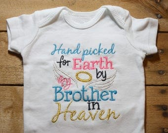 Embroidered Bodysuit Handpicked for Earth by my Brother in Heaven Hand Picked Bodysuit Turq