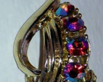 Vintage clip on aurora borealis earrings