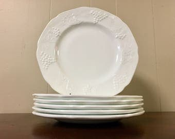 Milk Glass Dinner Plates - Indiana Glass Colony Harvest Grape Pattern - Set of 6 (Two Sets Available)