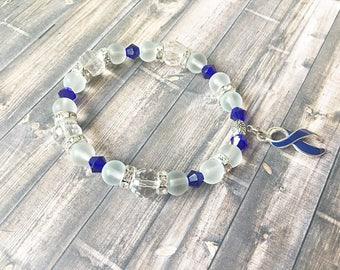 Dark Blue Awareness Ribbon Bracelet, Colon Cancer Bracelet, Colon Cancer, Arthritis, Arthritis Bracelet, Juvenile Arthritis, Erb's Palsy
